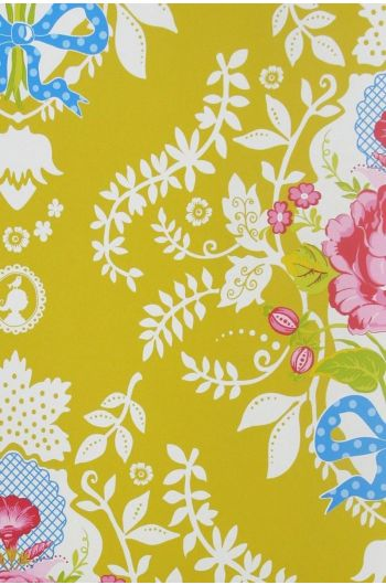 Shabby Chic wallpaper yellow
