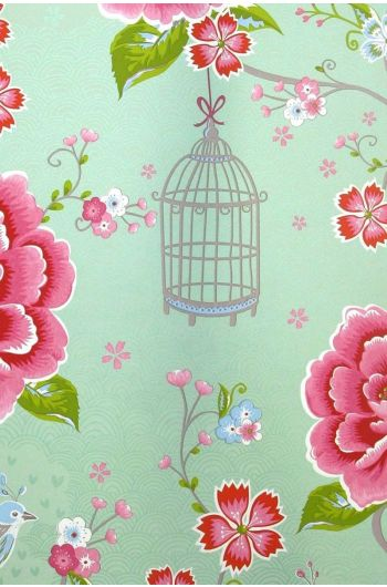 Birds in Paradise wallpaper green