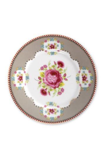 Floral cake plate khaki