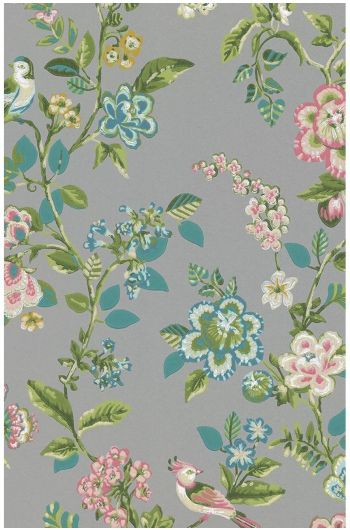 Botanical Print behang grijs