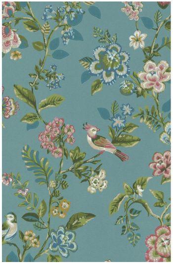 Botanical Print behang zeeblauw