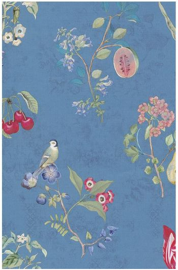 Cherry Pip behang blauw