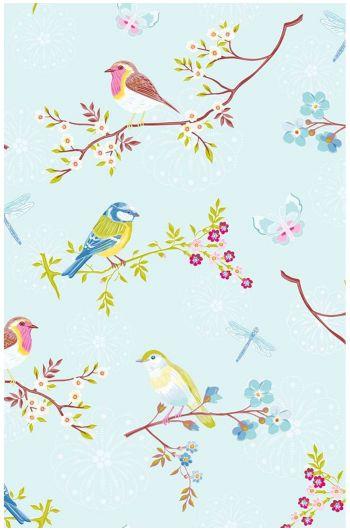 Early Bird behang lichtblauw