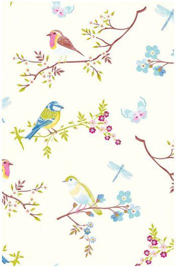 Early Bird behang ecru
