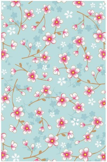 Cherry Blossom behang blauw