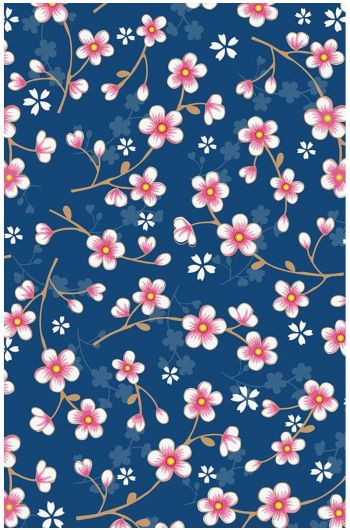 Cherry Blossom behang donkerblauw