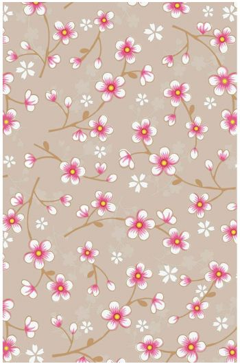 Cherry Blossom behang khaki