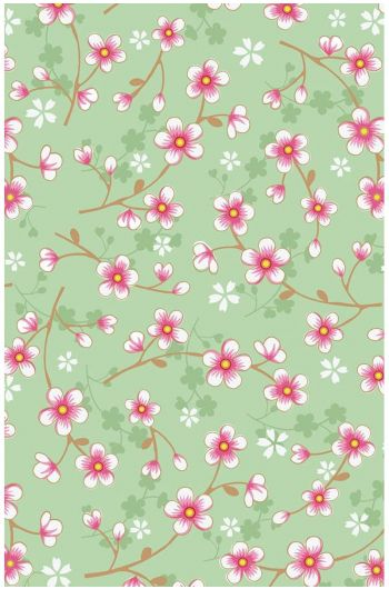 Cherry Blossom behang mintgroen