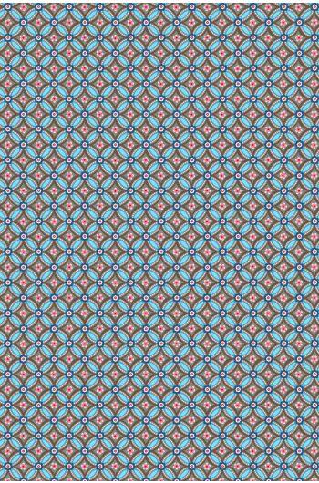 Geometric behang bruin lichtblauw
