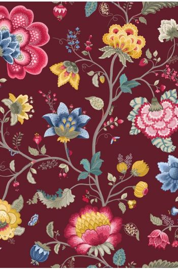 Floral Fantasy behang bordeaux