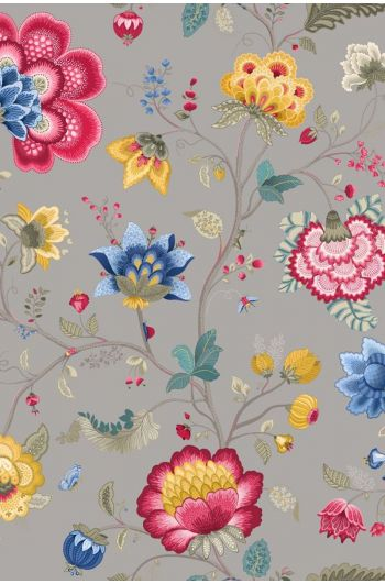 Floral Fantasy behang licht taupe