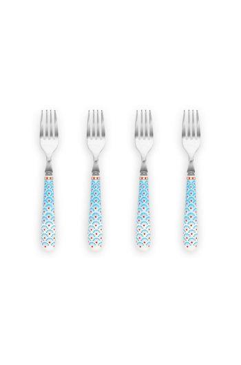 Floral set/4 Cake Forks Blue