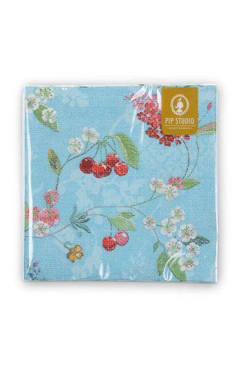Floral Paper Napkins Hummingbirds Blue