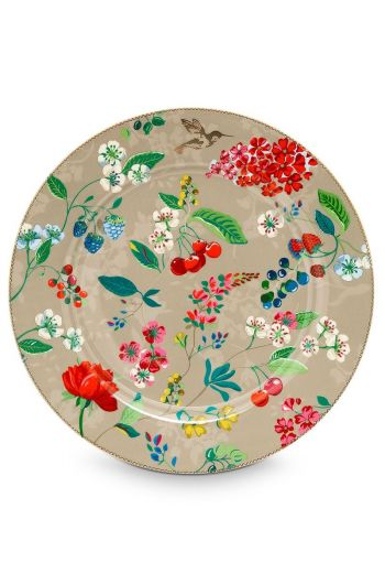 Floral under plate Hummingbirds 32 cm Khaki