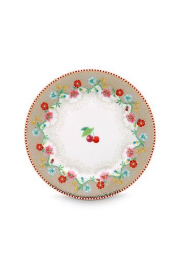 Floral gebaksbordje Cherry 17 cm Khaki