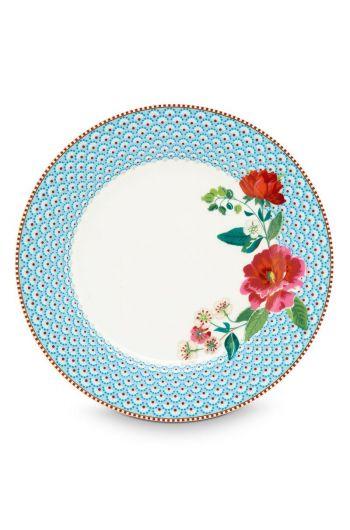 Floral dinerbord Rose 26,5 cm Blauw