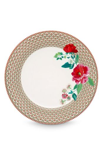 Floral dinner plate Rose 26.5 cm Khaki