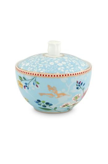 Floral Sugar Bowl Hummingbirds Blue