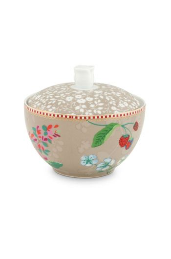 Floral Sugar Bowl Hummingbirds Khaki