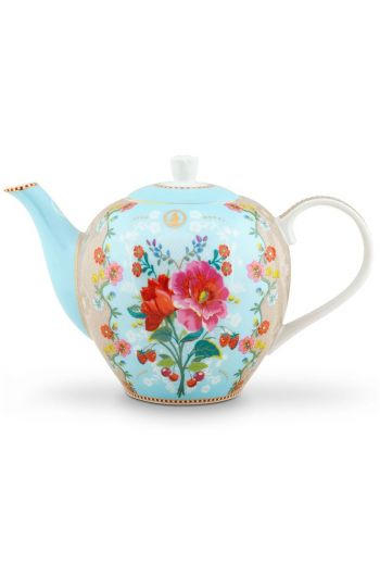 Floral Teapot Large Rose Blue