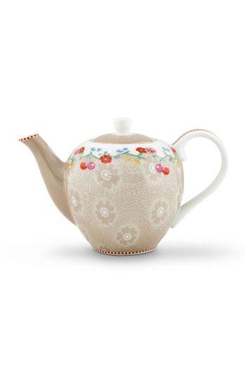 Floral Teapot Small Cherry Khaki