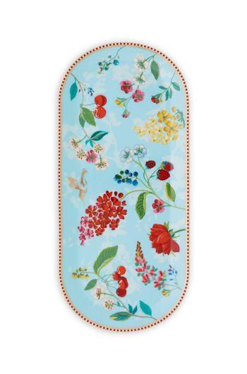 Floral ovaal taartplateau Hummingbirds Blauw