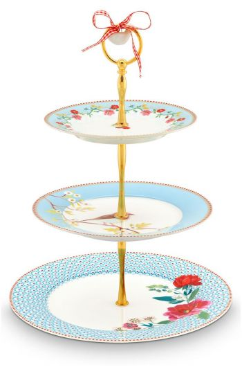 Floral Cake Stand 3 layers blue
