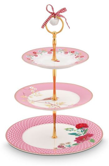Floral Cake Stand 3 layers pink