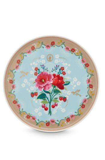 Floral Cake Platter Rose blue