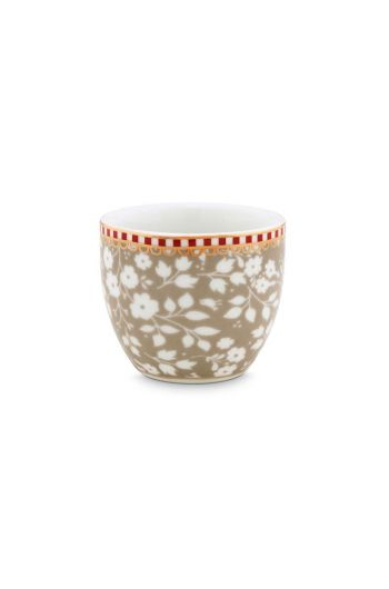 Floral Egg Cup Lovely Branches Khaki