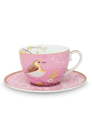 Floral Cappuccino Cup & Saucer Early Bird Pink