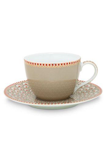 Floral espresso kop en schotel Bloomingtails Khaki