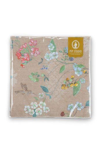 Floral Paper Napkins Hummingbirds Khaki