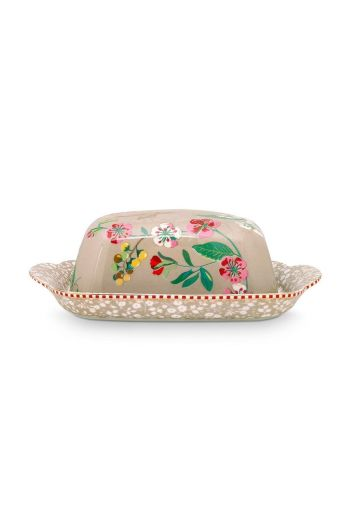 Floral Butter Dish Hummingbirds Khaki