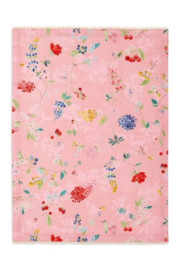 Floral Tea Towel Hummingbirds Pink