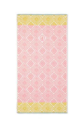 Baddoek Jacquard Check roze 55x100 cm