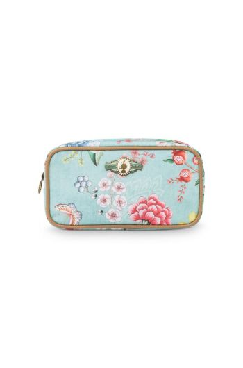 Make-up Bag Rectangle Small Floral Good Morning Blue