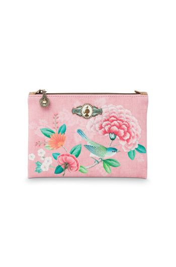 Cosmetic Flat Pouch Small Floral Good Morning Pink