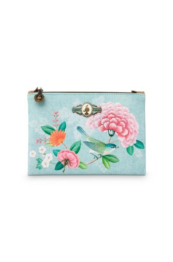 Flaches Necessaire klein Floral Good Morning Blau