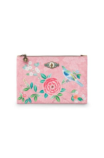 Cosmetic Flat Pouch Medium Floral Good Morning Pink
