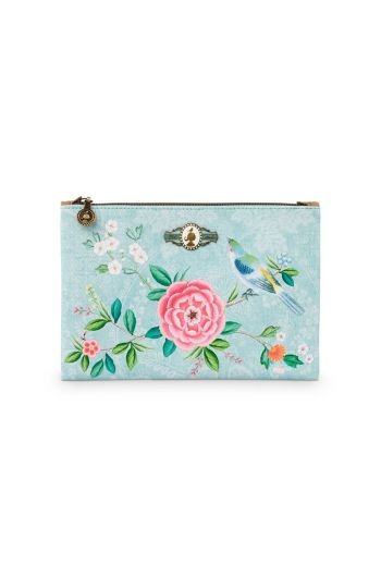 Cosmetic Flat Pouch Medium Floral Good Morning Blue