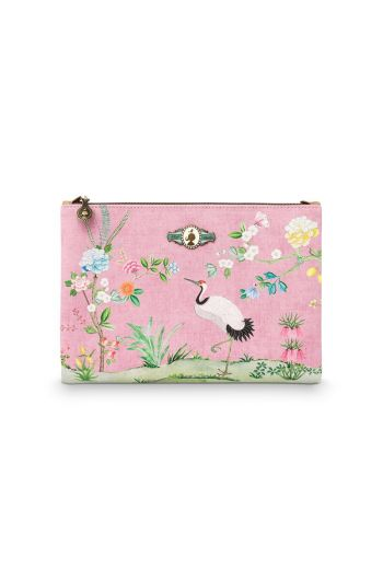 Cosmetic Flat Pouch Large Floral Good Morning Pink