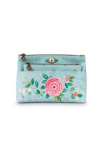 Cosmetic Bag set Floral Good Morning Blue