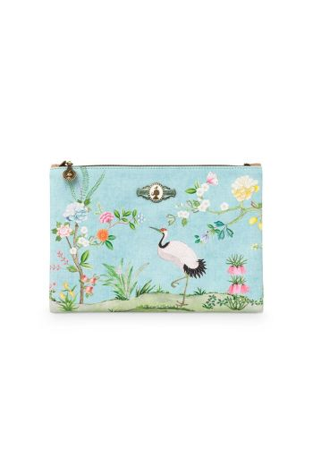 Flaches Necessaire groß Floral Good Morning Blau