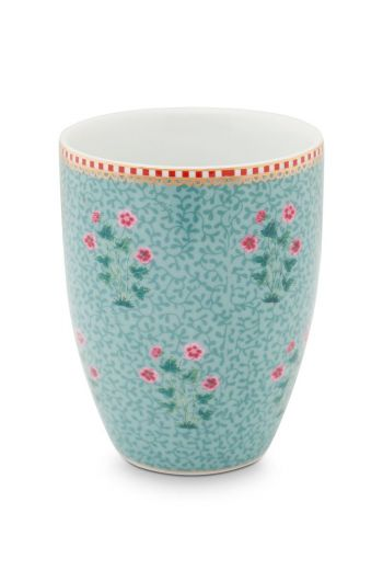 Drinking Cup Floral Good Morning Blue