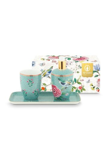 Bathroom Accessories Set Floral Good Morning Blue