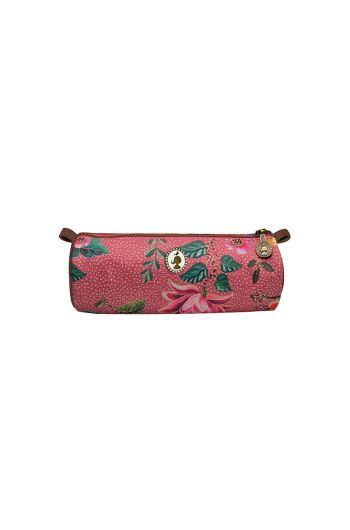 Telling Tales pink round pencil case