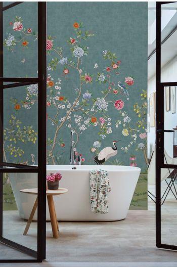 fotobehang-vliesbehang-bloemen-donker-blauw-pip-studio-good-morning