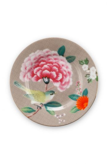 Blushing Birds Petit Four Plate Khaki 12 cm
