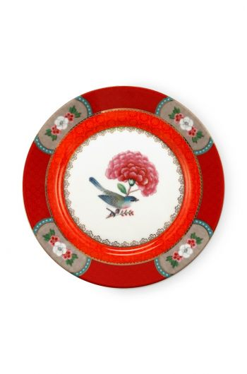 Blushing Birds Pastry Plate Red 17 cm